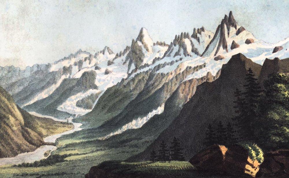 "Gabriel Charton, ""Le Col de Voza."" From Souvenirs Pittoresques des Glaciers de Chamouny,1821; reprinted by Tony Astil, 2015"