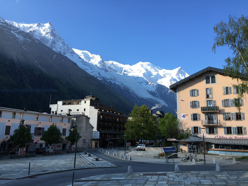 Mont Blanc Massif from Chamonix. Copyright Henderson, 2016.