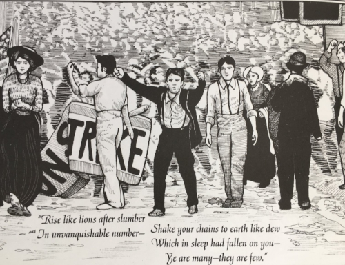 Michael Demson's graphic novel  Masks of Anarchy  (2013) tells the story of the Peterloo Massacre and Shelley's response to it.
