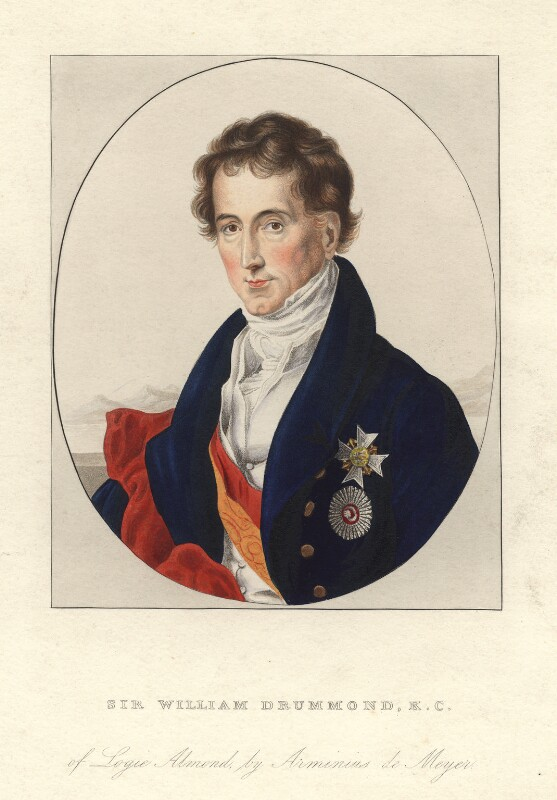 Sir William Drummond. After Arminius Mayer. Hand coloured engraving, early 19th century.
