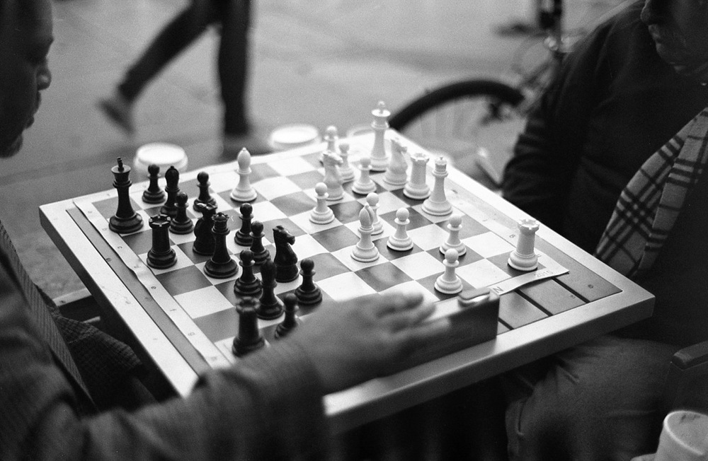 """Chess Game"" - Contax RTS with a 50mm f1.4 lens - T-Max 400 - Photos by Johnny Brown."