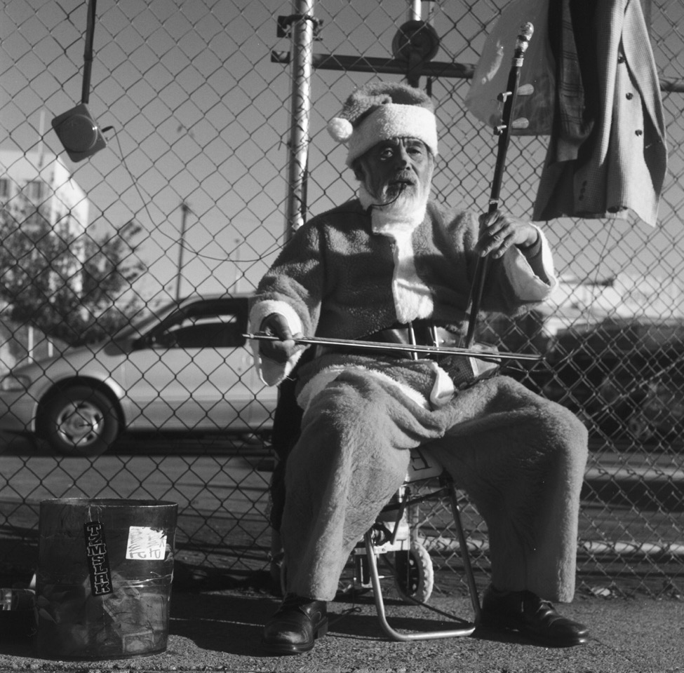 """Santa in Downtown LA"" - Rolleiflex 3.5F , Carl Zeiss Planar- T-Max 400"