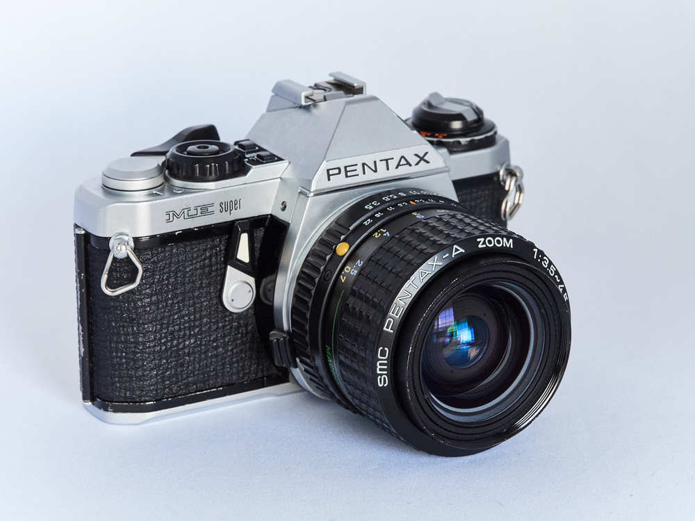 Pentax ME Super (1979-84) with compact 35-70mm f/3.5-4.5 zoom lens with macro.