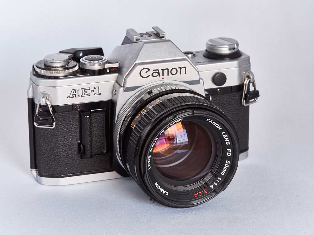 Canon AE-1 with FD 50mm lens. Photo by Derrick Story.