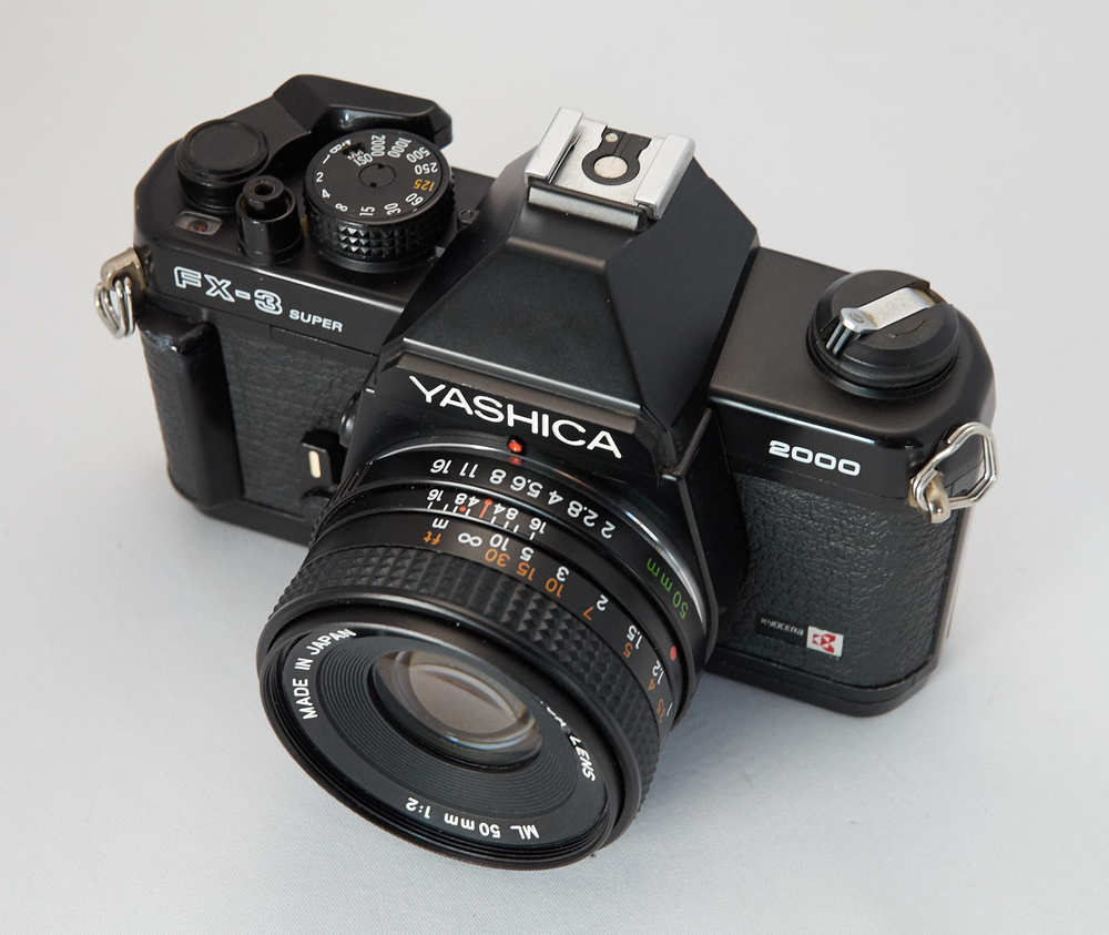 The Yashica FX-3 Super 2000 with 50mm f/2 lens. Photo by Derrick Story.