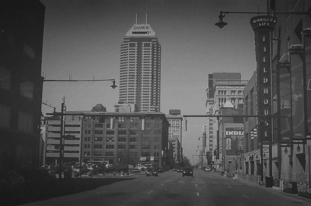 """Downtown Indianapolis"" captured with a Minolta Maxxum 700si and 30-year-old Tri-X film. Article and images by Steve Brokaw."