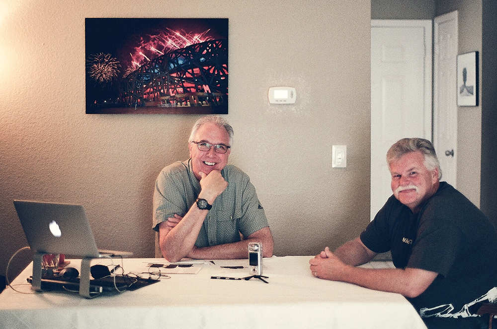 Derrick Story (left) and Moose Peterson and The Digital Story Studio in Santa Rosa, CA. Photo by Sharon Peterson.