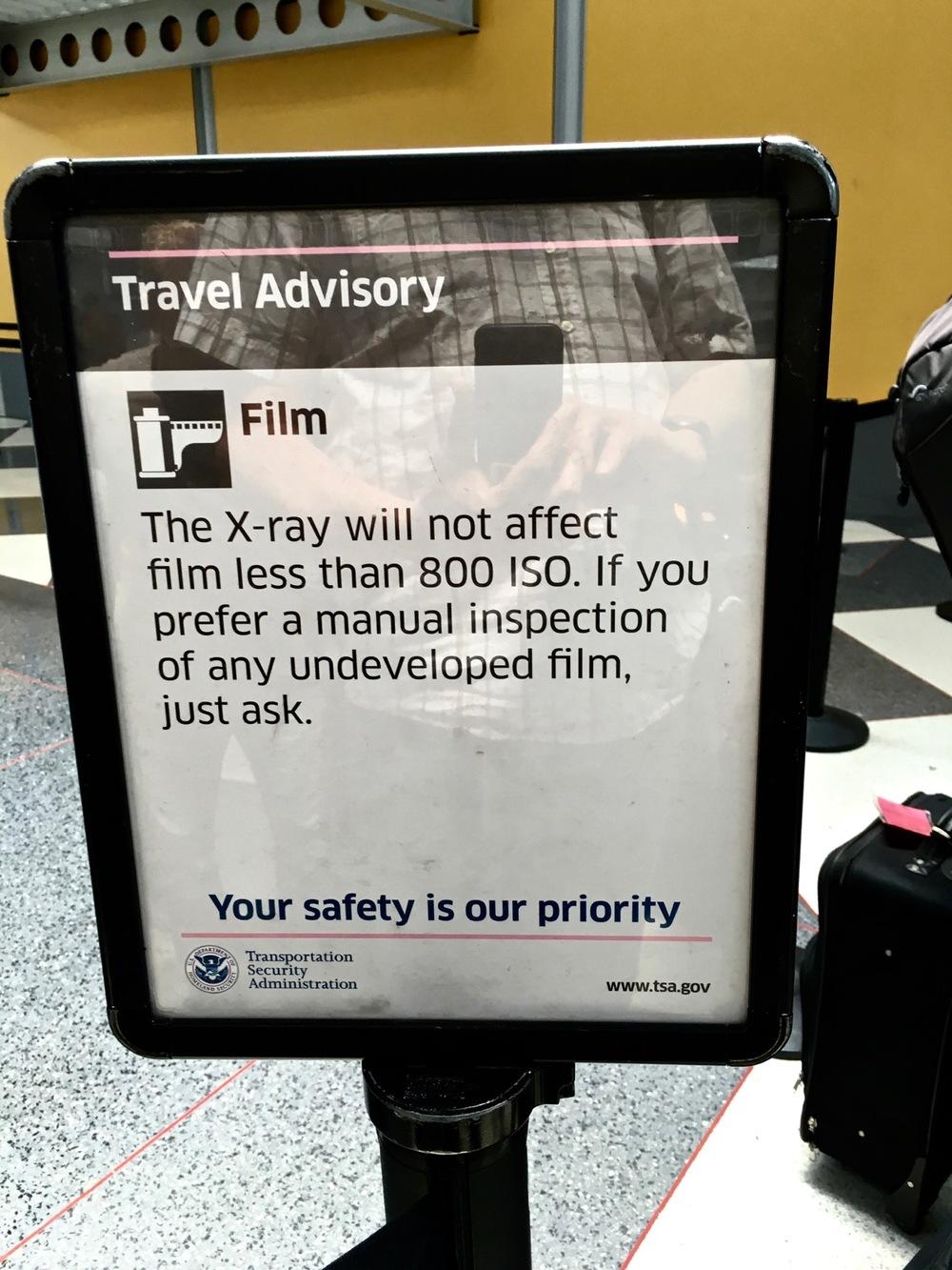 TSA information sign at an U.S. airport.