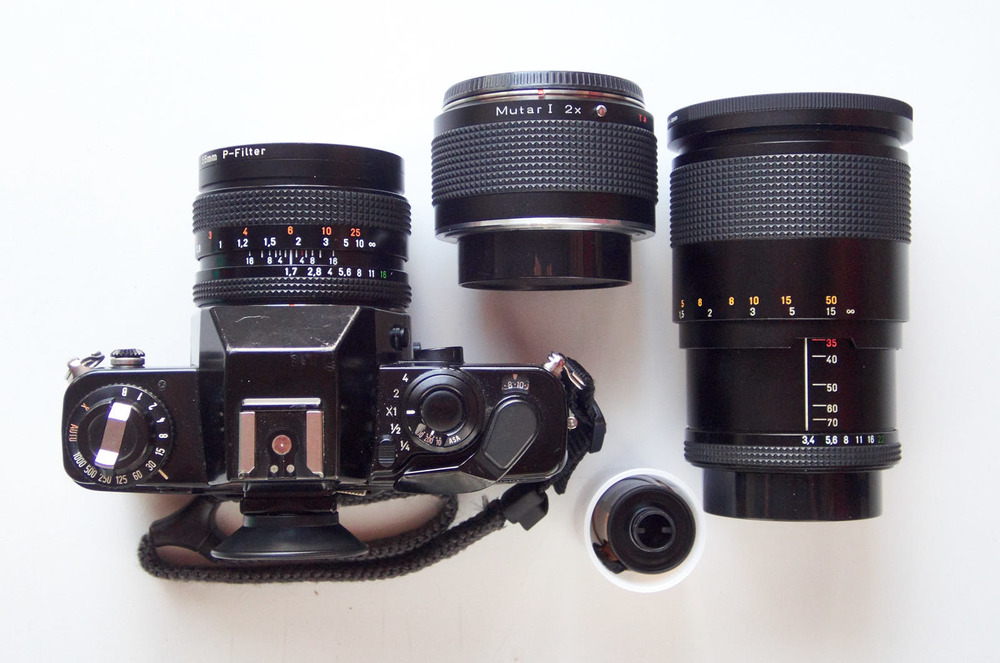 Contax 139Q with 50mm, 35-70mm, and a Zeiss 2X teleconverter.