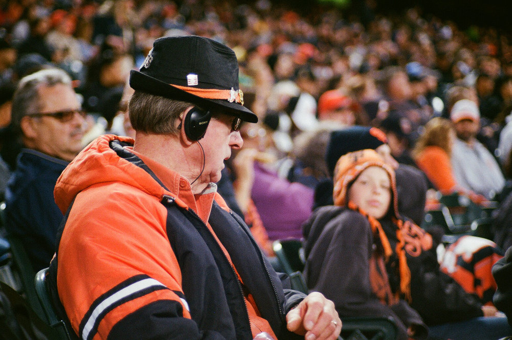 """Giants Fans"" - Contax 139Q, Zeiss 50mm + 2X Mutar on Kodak 400. Image by Derrick Story #organicphoto"