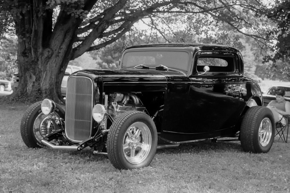 """""""Hot Rod"""" by Fred Brundick. Minolta SR-T 101, Tri-X, then finished off in Lightroom."""