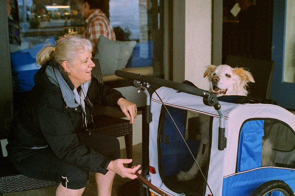 """Woman's Best Friend"" - Contax G1 with 45mm f/2.0 lens.  Fuji 400H Pro negative scanned with the Wolverine F2D Mighty Film to Digital Converter. Photo by Derrick Story."
