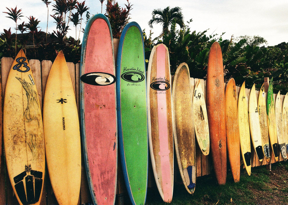 """Surfboards, Maui"" Scanned version - Contax 159MM, Zeiss 28-70mm, Kodak ColorPlus 200 film. Photo by Derrick Story."