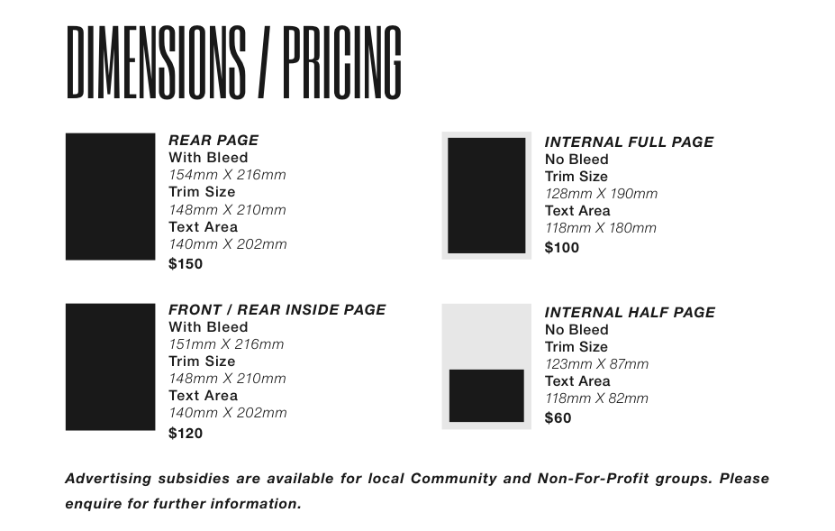 Dimensions/pricing
