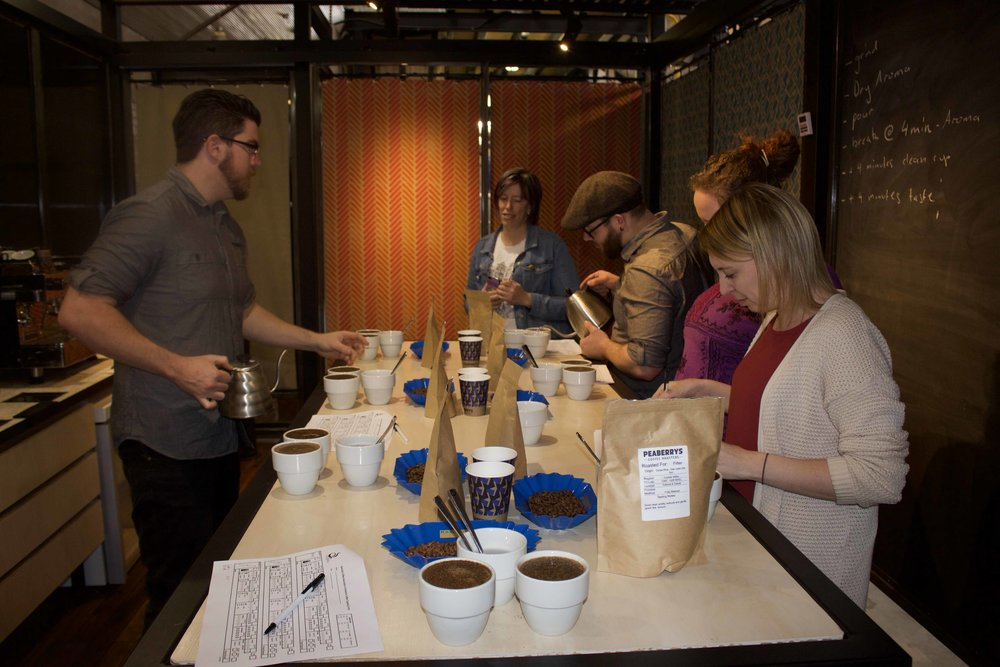peaberrys coffee roasters cupping