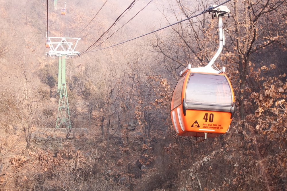 THE cable cars at  THE GREAT WALL OF CHINA   MUTIANYU SECTION IN BEIJING, CHINA