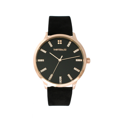 TRENDY THIRTEEN.02 WEST VILLAGE WATCH WITH BLACK SUEDE BAND