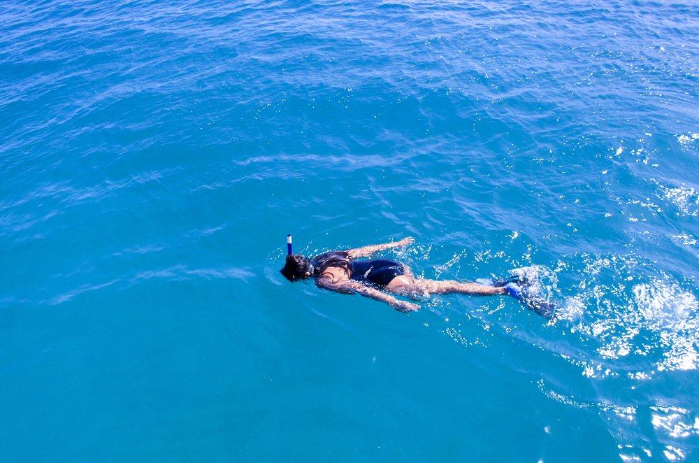 snorkeling in santa maria bay, bahia del santa maria, mexico
