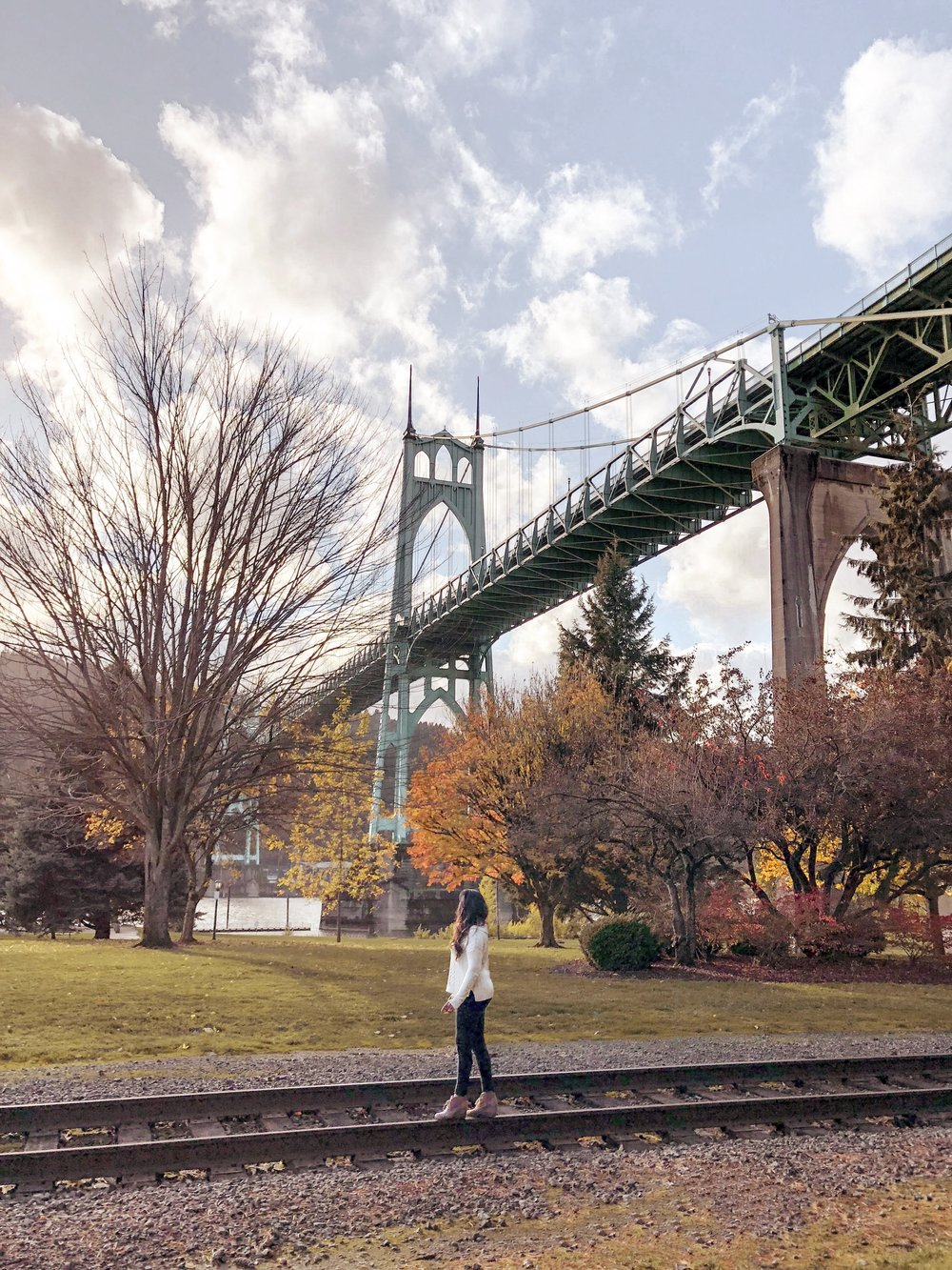 St Johns bridge, cathedral park, portland, oregon