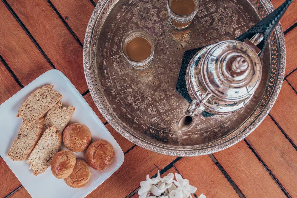 Riad Anata Moroccan Mint Tea and Cookies