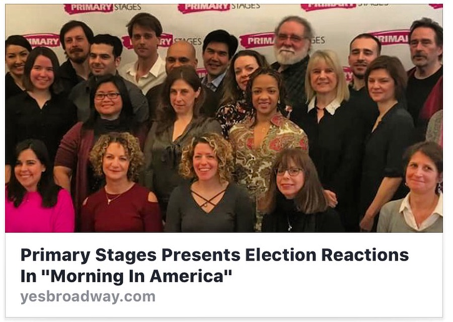 Morning in America - Primary Stages sent out a siren to their vast community of artists a week after the 2016 election asking them to write a monologue expressing various reactions to president 45. Over 80 playwrights submitted and the pieces were performed at the Cherry Lane Theater.        Dir: Candis Jones                                                                                Actors: Nikkole Salter & Allison Buck                  Monologues by: Crystal Skillman, Eljon Wardally, Brandon Lee, Jenny Rachel Weiner, Sheri Wilner, Jessica Luck, Leah Nanako Winkler, Michele Lowe