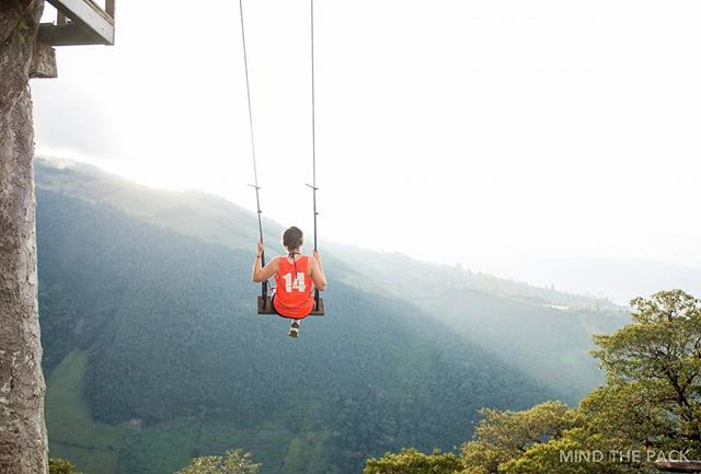 || SWINGING AMONGST THE CLOUDS || We are still children at heart when it comes to swings – Especially when that swing is off the side of a mountain, amongst the clouds with a mouth dropping view.  Baños, Ecuador 🇪🇨