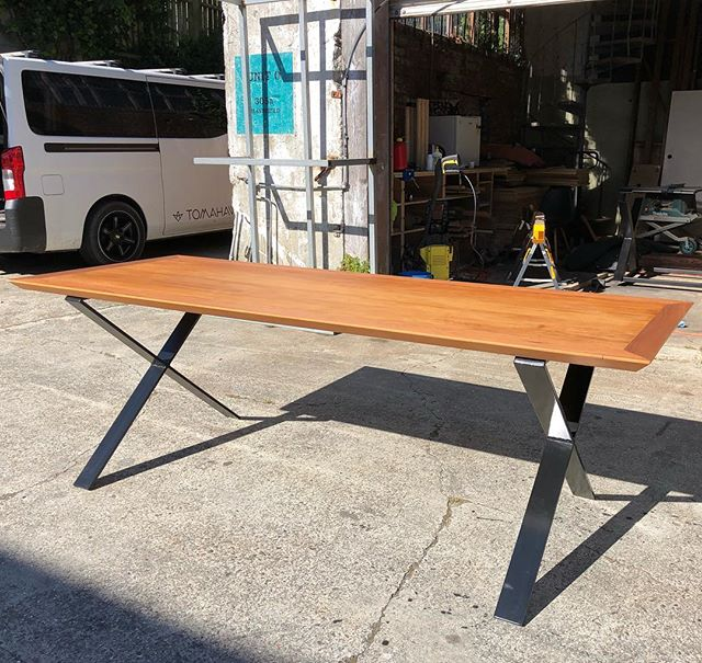 For Sale: I made this recycled rimu table as a prototype and I have no space for it. DM me an offer and it could be yours. Dimensions 2100mm x 800mm, it's not perfect, the bottom underneath is a little rough and a couple of mitres don't run into the corners well but structurally it's fine. Legs are 75x12 steel powder coated satin black.