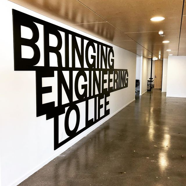 Installed a big sign on the wall for @engineeringnewzealand today, it's cooler in real life, you can't see the grain and third dimension as well on the gram life. Thanks @organicdynamic for helping me cut it out.
