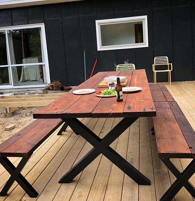 I made this 3.5m outdoor table for myself out of Oregon beams recycled from the old Lyall Bay surf club. I need to finish building the deck. #oregon #lyallbay #outdoortable #mexican
