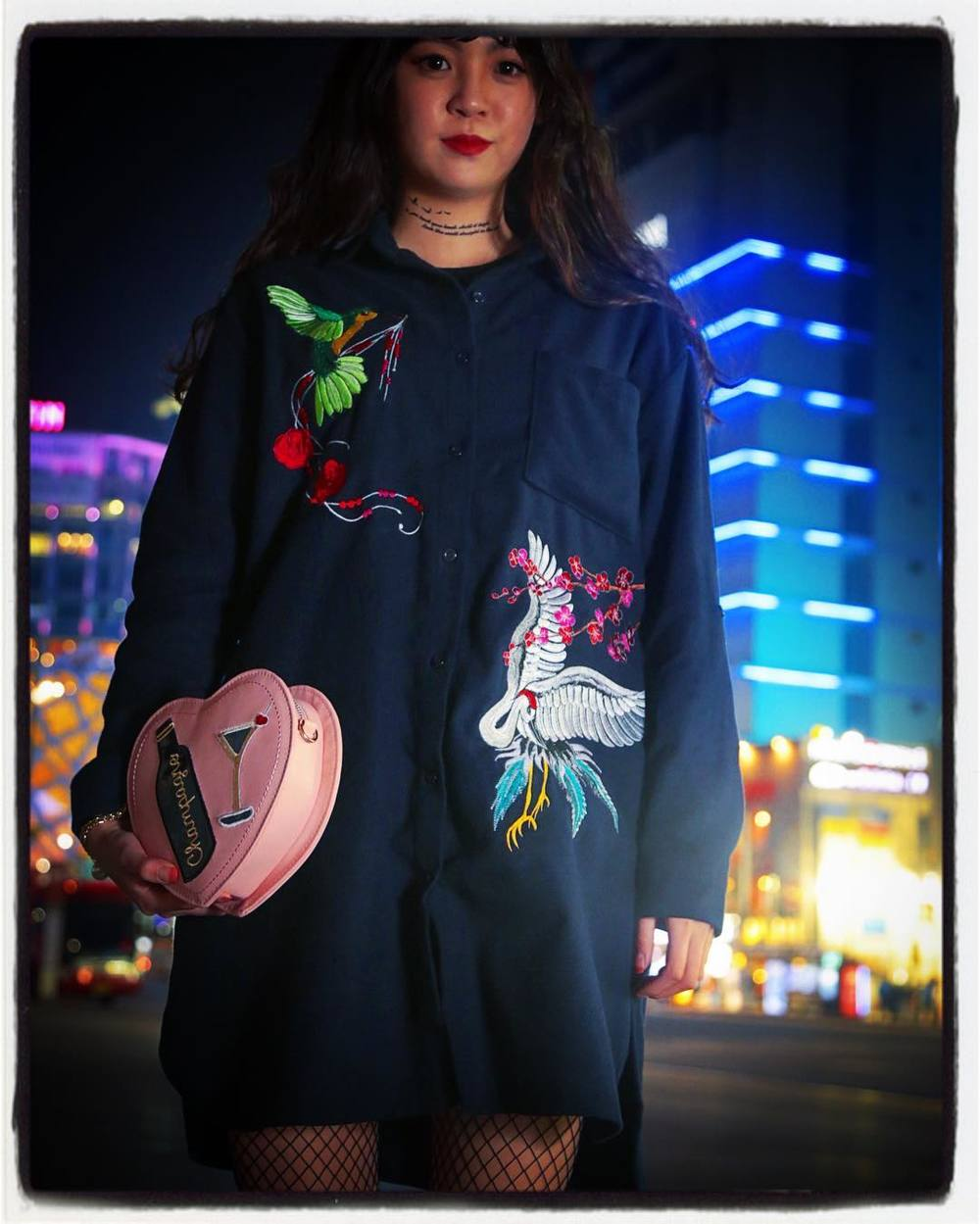 It's interesting to see the same  sukajan  idea done on a shirtdress but with Korean traditional art motifs. And now, it's noticeably  girly , not tough-guy.