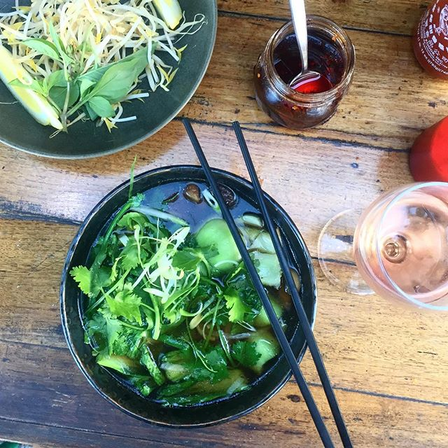 When we're too lazy to cook- the amazing vegan pho at @mophocanteen- never not appropriate 😍💕🍜