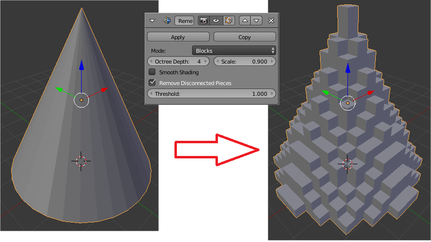 An example of a voxel mesh:a model of a cone represented as a voxel mesh. This shows how hard it can be to discern the original form within a voxel mesh. Topographical optimization of engineering components results in far more complex meshes, that are much harder to interpret. This makes optimization workflows difficult.