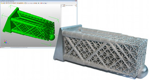 A complex engineering component for additive manufacturing which has been optimized using layout optimization. The screenshot shows the output of LimitState;FORM: an optimized vector model, not a voxel mesh, which can be examined and edited like any other model. It can also be exported to FEA packages in seconds. For very complex AM products such as this, layout optimization is much easier and faster.