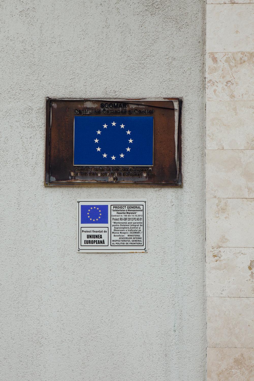 Schild am Eingang Marine Hauptquartier, Constanta