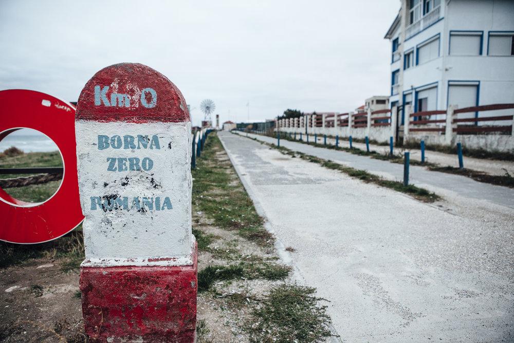 Wegstein im Grenzgebiet von Rumänien nach Bulgarien Vama Veche
