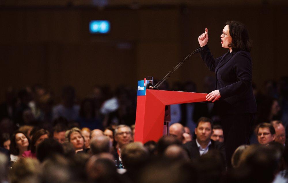 Andrea Nahles hält ihre erste Rede als neue Vorsitzende der SPD.
