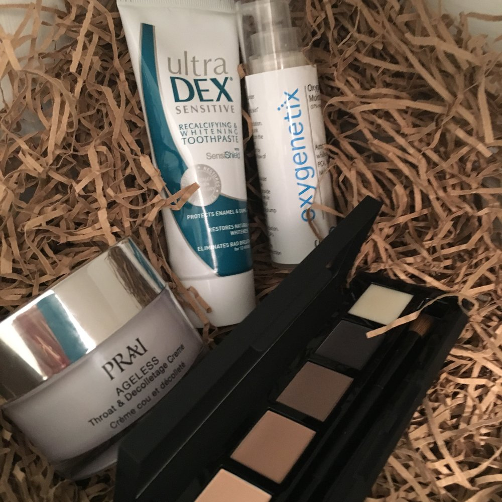 Products that help roll back the years: Prai Throat & Decolletage cream, Ultradex whitening toothpaste, Oxygenetix second-skin moisturiser and HD Beauty's Vamp palette