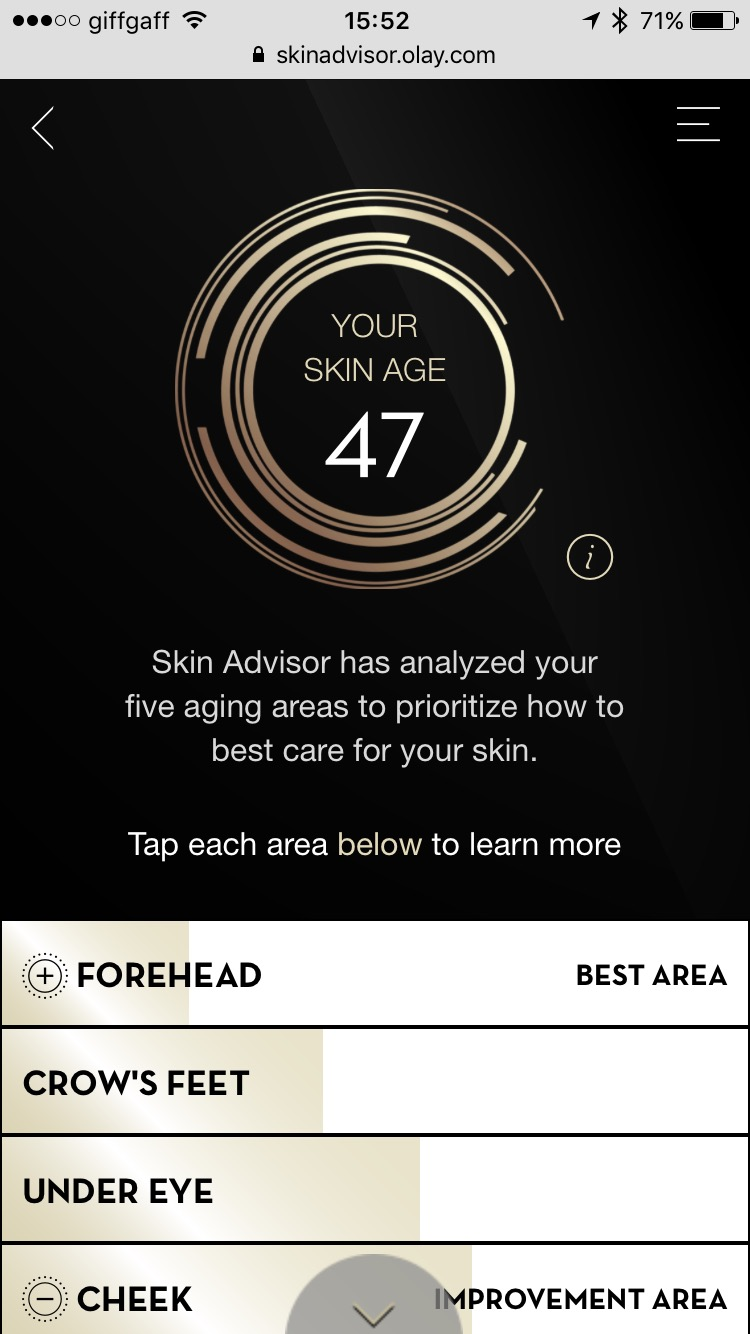 No escape: my latest results from the Olay Skin Advisor