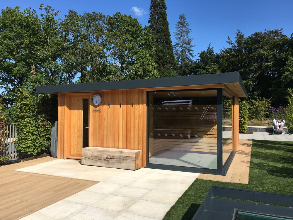 In the roof garden at Rudding Park's new spa, along with a selection of seating areas, there's a cabin sauna