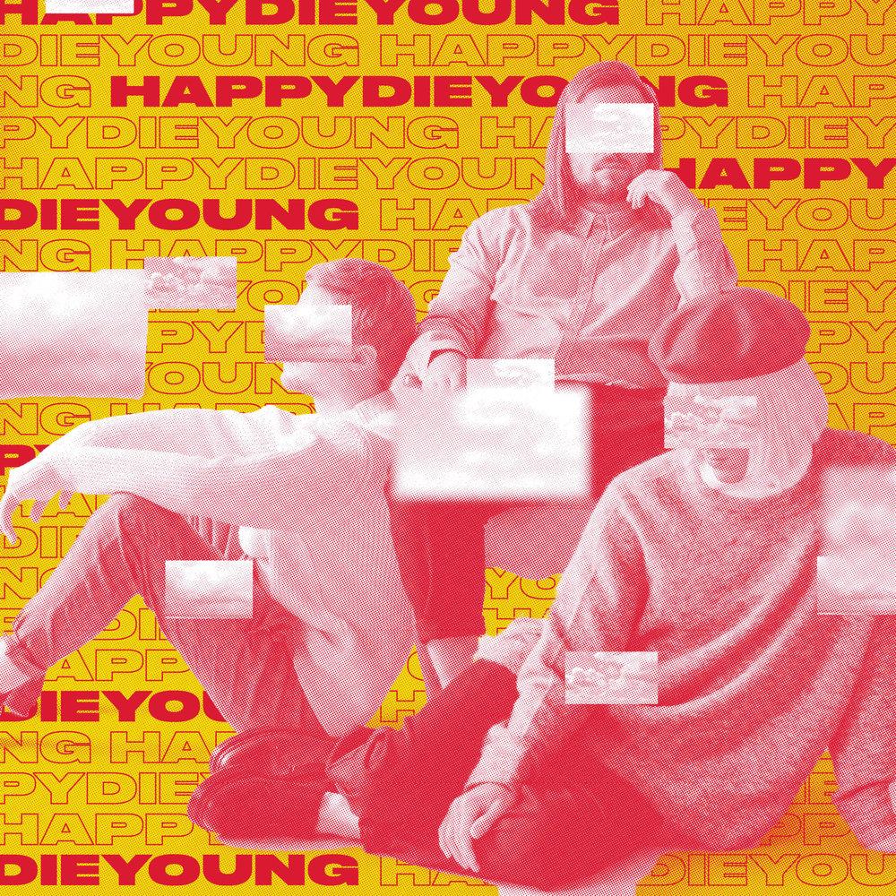 Happydieyoung er resultatet av tre produsenters jakt på nye lydlandskap og ekte menneskelig kontakt. Med bakgrunn i en tradisjonell band-lineup, entret de studioet for første gang i 2014 og har knapt forlatt det siden. Siden da har ryktene spredt seg sakte, men sikkert, om et ulansert prosjekt med en sound ulikt noe annet. Om en form for kompromissløs poprock, like følelsesladd som den er medrivende. Om produsenter som danser og stjerner som gråter til låter bak lukkede dører. Endelig er tiden inne for å åpne dørene.
