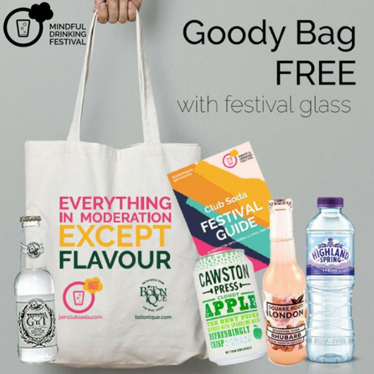 FREE Goodie Bag   - Entry is freeThe tasting glass costs £3 but with it you get a free goodie bag courtesy of Club Soda and Botonique.