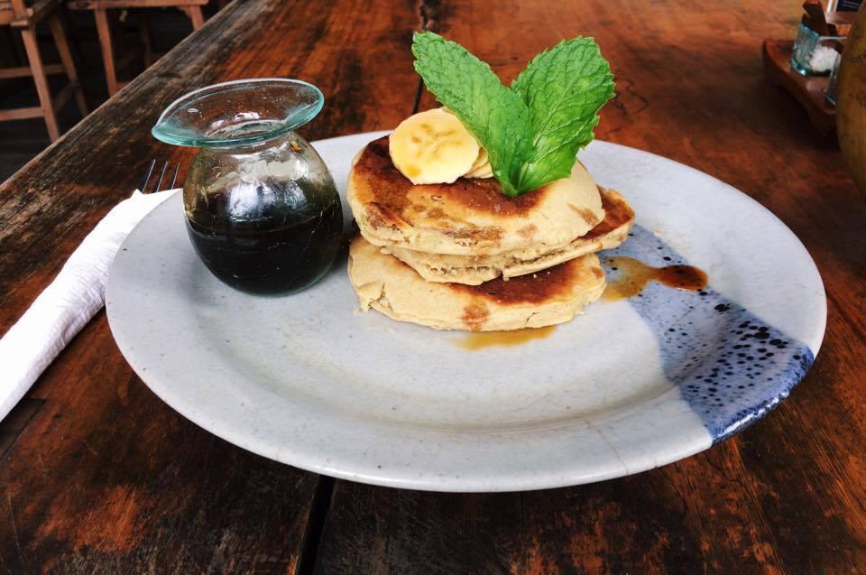 Banana and coconut pancakes at  The Garden Kafe