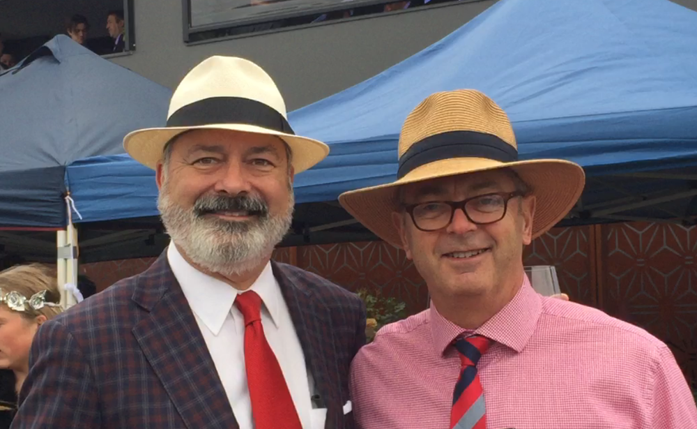 Stewart Dansby (AL, '95) and Mark Bytheway (Australia, '17) at The Melbourne Cup in Australia