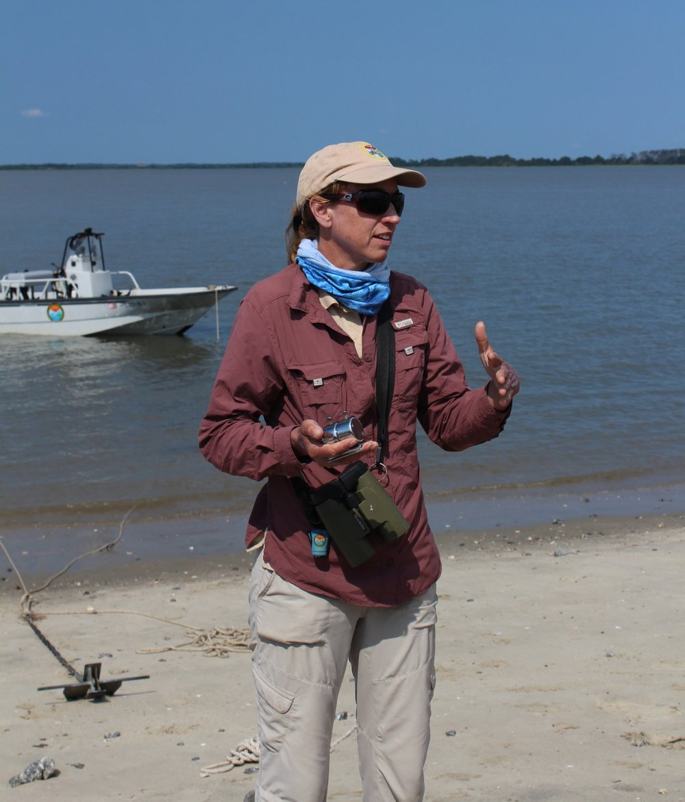 SCDNR coastal bird biologist Felicia Sanders explains the steps of the nest count before the team gets started. (Photo: E. Weeks/SCDNR)