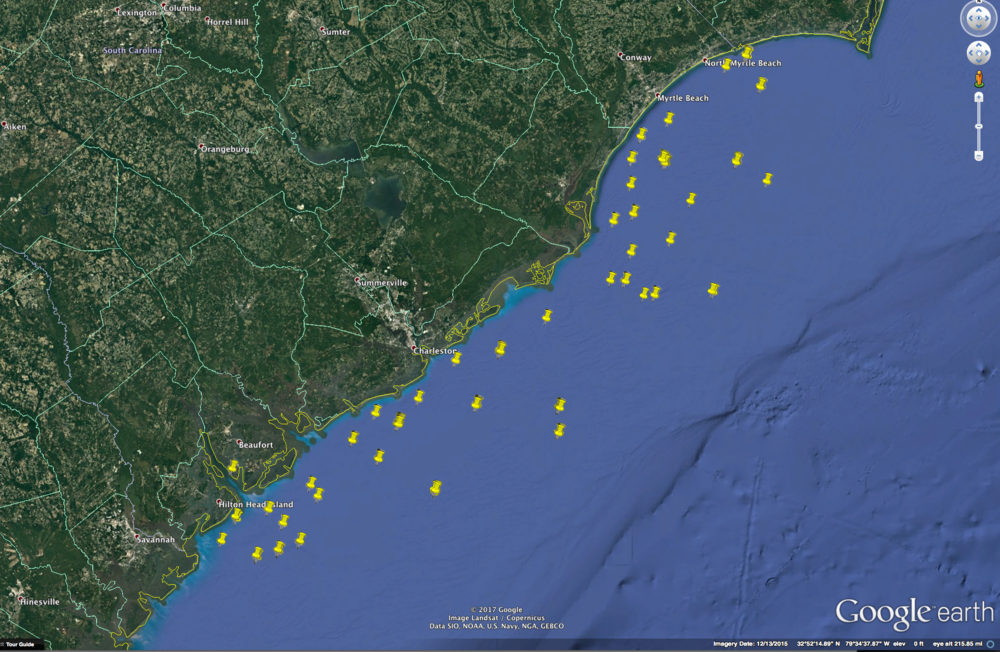 Artificial reef sites off the coast of South Carolina