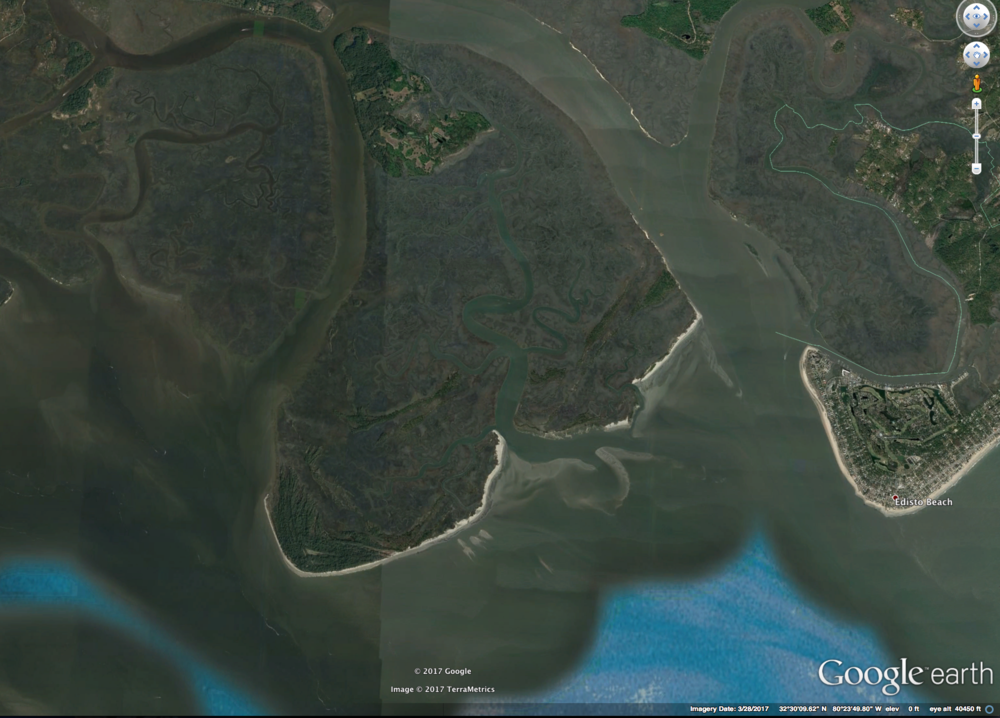 Otter Island (center left) sits adjacent to Edisto Beach (right) where the Ashepoo and South Edisto Rivers empty into St. Helena Sound.