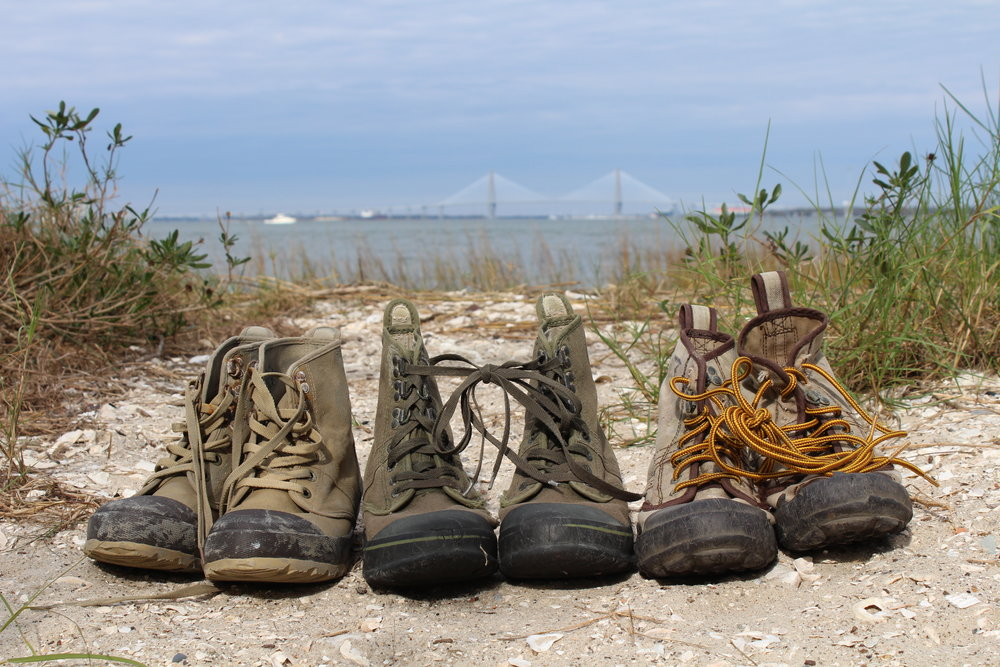 These marsh/wading boots, a kind of high-top sneaker and boot hybrid, are perfect for working in pluff mud around sharp shells. (Photo: E. Weeks/SCDNR)
