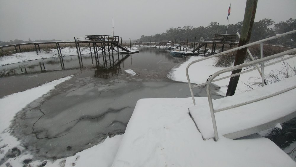 Ice and snow covered the surface of Shem Creek in Mount Pleasant for days after January 3, 2018. Longtime SCDNR employees said it was the first time they'd seen iced-over tidal creeks in several decades. (Photo: Jonathan C. Jones)