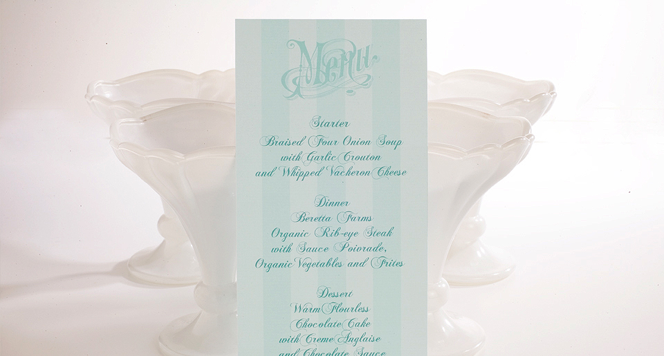 French style menu card