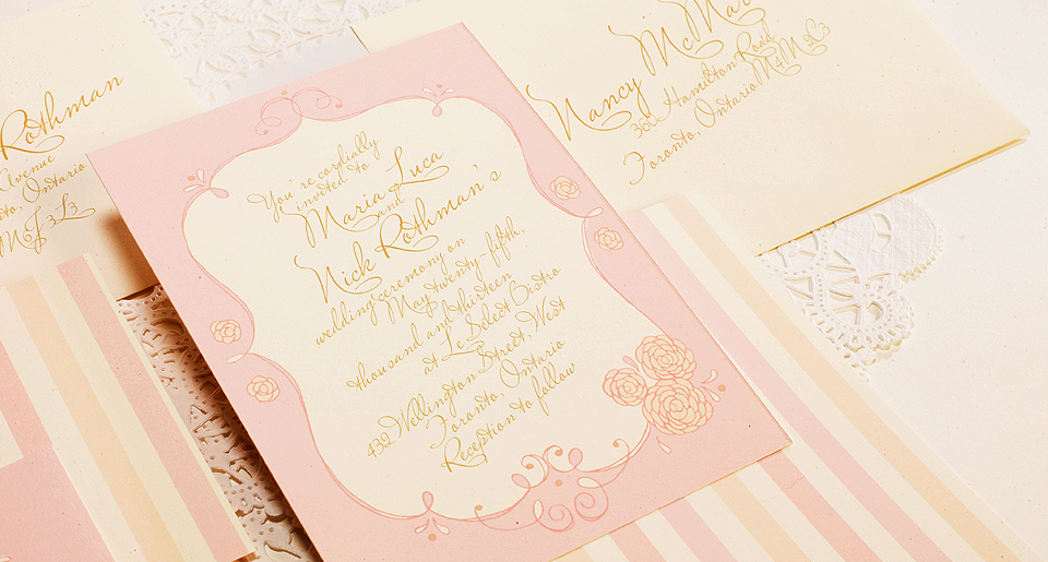 Custom invitation with calligraphy font and 3 tone stripes